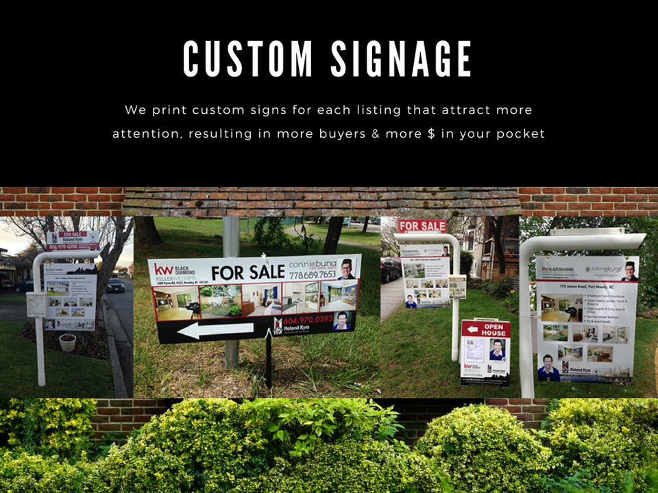 We print custom signs for each listing that attract more attention, resulting in more buyers and more money in your pocket.