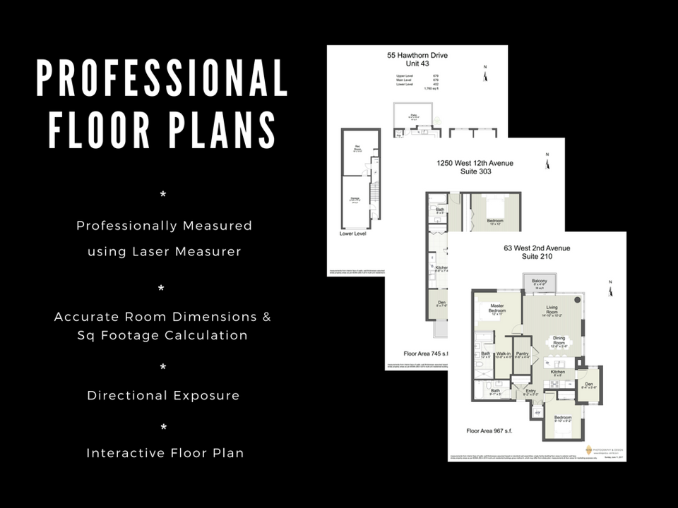 Professional floor plans are created using a laser measurer for accurate room dimensions and square footage. We also have interactive floor plans.