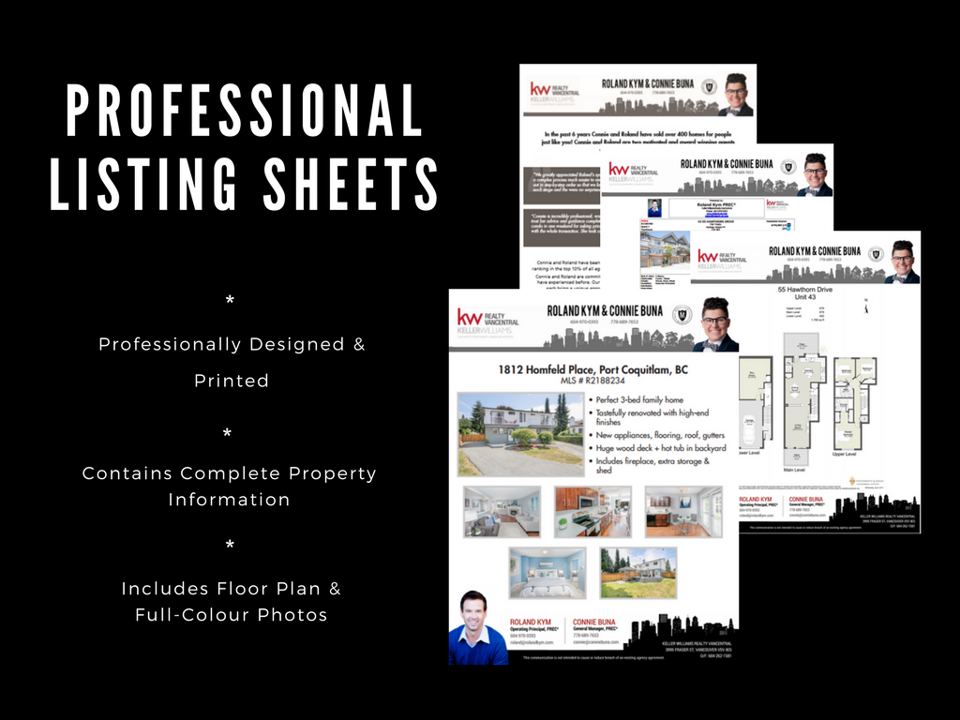 Professional listing sheets are designed and printed professionally and contain complete property information, floor plan and photos.